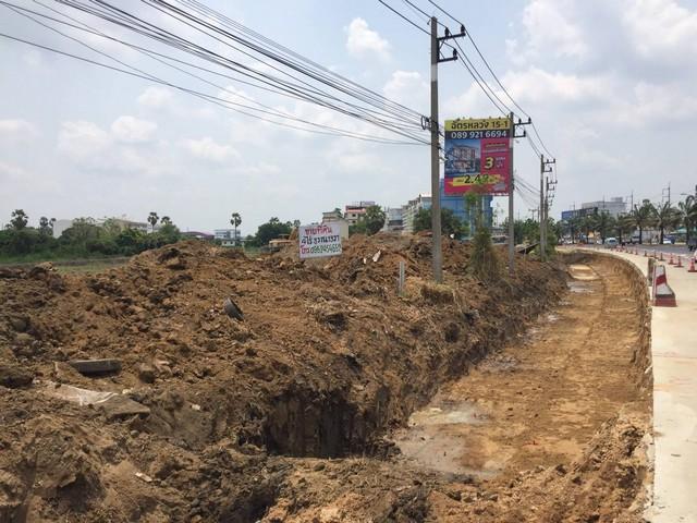 ภาพขายที่ดินปทุมธานีติดถนนรังสิต- ปทุมใกล้สะพานปทุม1