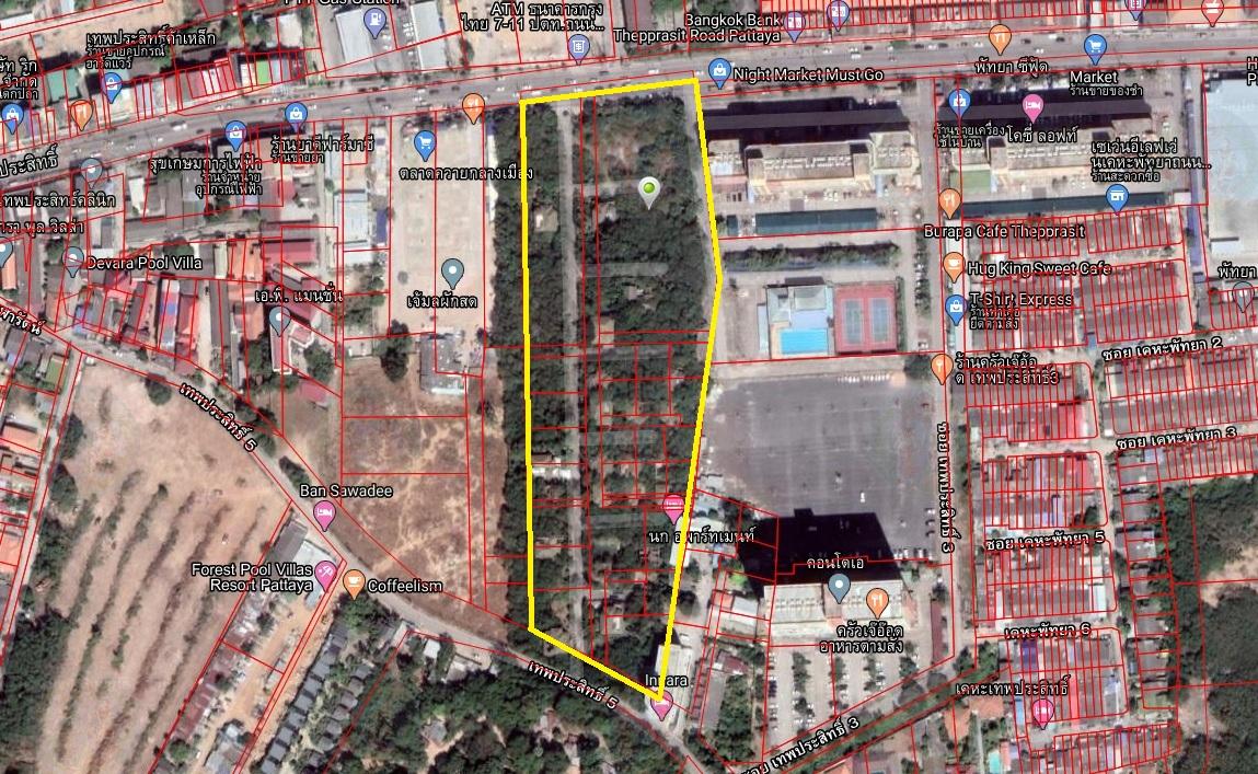 ภาพขายที่ดินถนนเทพประสิทธิ์ เมืองพัทยา พื้นที่ 17 ไร่ 3 งาน (ติดทรัพย์)