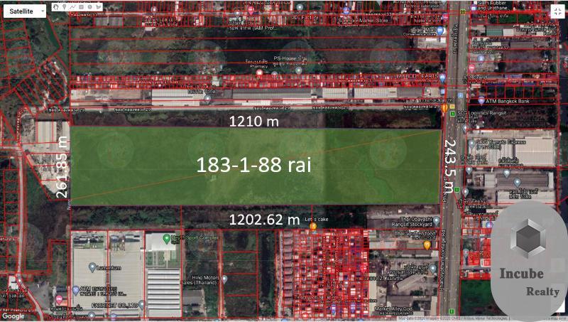 ภาพขายที่ดินปทุมธานี 183-1-88.0 ไร่ 2385.11 ล้าน