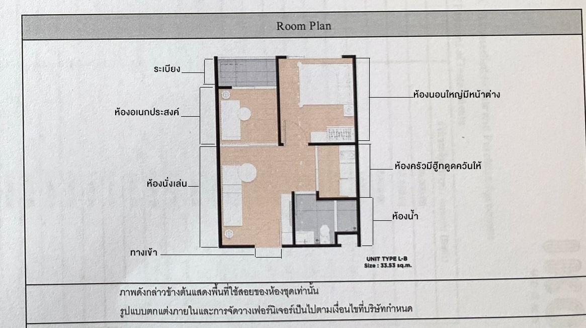 เจ้าของขายดาวน์คอนโอ ขนาด 33.53 ตรม. 1 ห้องนอน ตึก B ชั้น 3 ตำแหน่ง B320 ผนังห้องไม่ติดกับใคร ห้องริ