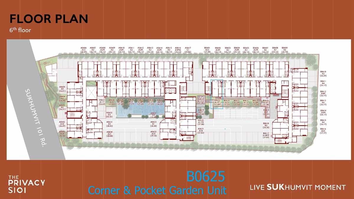 ขายดาวน์ ห้องมุม ทิศเหนือ The Privacy สุขุมวิท 101 พื้นที่ 27.84 ตรม. ตึก B ชั้น 6 (B0625)
