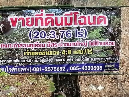 ขายที่ดินมีโฉนดเหมาะกับการทำสวนทุเรียน 20 ไร่ 3 งาน 76 ตร.วา  จ.จันทบุรี