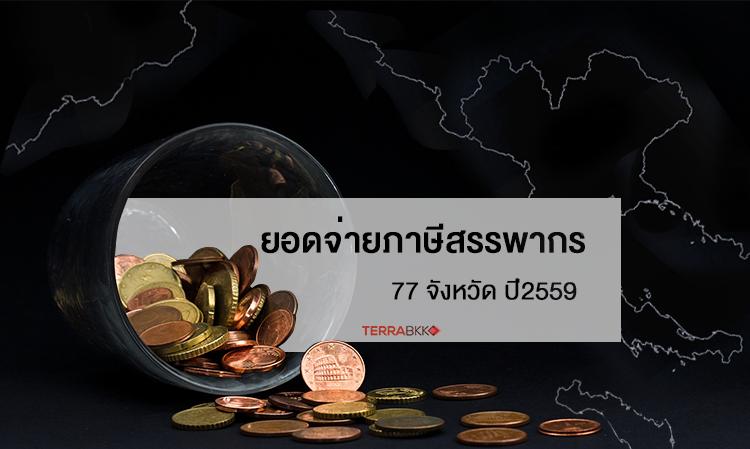 ยอดจ่าย ภาษีสรรพากร  77 จังหวัด ปี2559