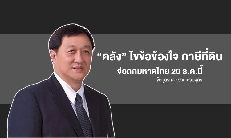 """""""คลัง"""" ไขข้อข้องใจ ภาษีที่ดิน จ่อถกมหาดไทย 20 ธ.ค.นี้"""