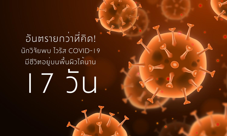 อันตรายกว่าที่คิด! นักวิจัยพบ ไวรัส COVID-19 มีชีวิตอยู่บนพื้นผิวได้นาน 17 วัน