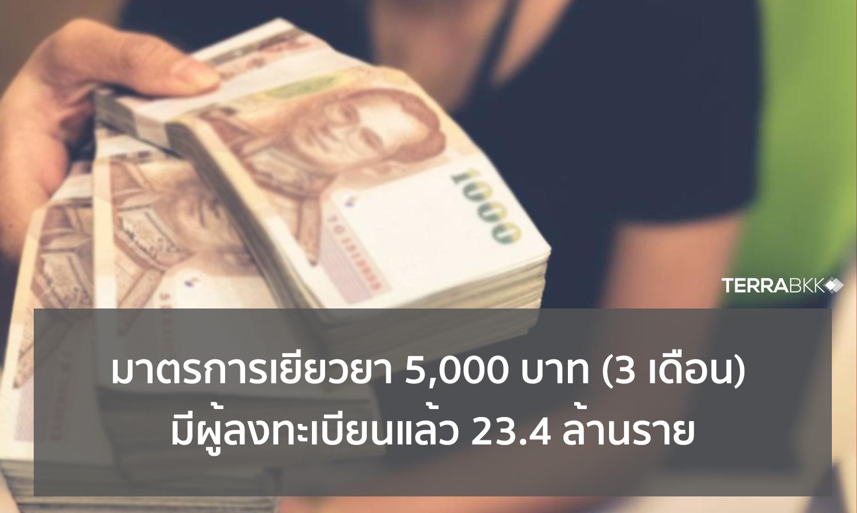 กระทรวงคลัง อัพเดทมาตรการเยียวยา 5,000 บาท (3 เดือน) มีผู้ลงทะเบียนแล้ว 23.4 ล้านราย