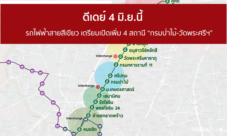 """ดีเดย์ 4 มิ.ย.นี้ รถไฟฟ้าสายสีเขียว เปิดเพิ่ม 4 สถานี """"กรมป่าไม้-วัดพระศรีฯ"""""""