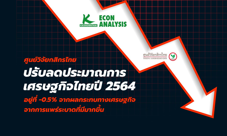 ศูนย์วิจัยกสิกรไทยปรับลดประมาณการเศรษฐกิจไทยปี 2564 อยู่ที่ -0.5% จากผลกระทบทางเศรษฐกิจจากการแพร่ระบาดที่มีมากขึ้น
