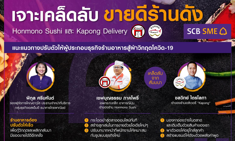 ไทยพาณิชย์เจาะเคล็ดลับขายดีร้านดัง-honmono-sushi-และ-kapong-delivery-แนะแนวทางปรับตัวให้ผู้ประกอบธุรกิจร้านอาหาร