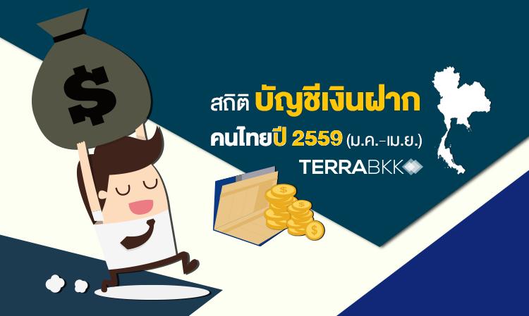 สถิติ บัญชีเงินฝาก คนไทยปี 2559 (ม.ค.-เม.ย.)